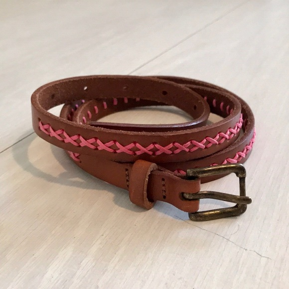 NEW ANTHROPOLOGIE SAGADA BEADED BROWN LEATHER BELT SMALL NWT